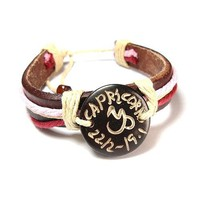 Capricorn The Goat Zodiac Tribal Leather Bracelet with Earth Tone Cord and Beads