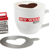 Present Time Cappuccino Mug Set with Mug, Grater and Choco Stencil, Get Well