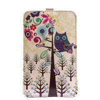 Leather iPhone/ iTouch/HTC(Desire/Mozart) case - Owl & moon