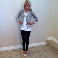 Leopard Print Gray Button up Cardi
