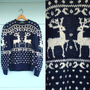 1980s. navy &amp; white reindeer and polka dots wool sweater. s-l