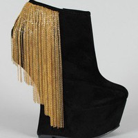 Privileged Moks Heel Less Chain Fringe Curved Wedge Bootie