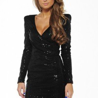 Black Sequin Long Sleeve Dress with Deep V-Neck