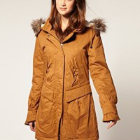 Vila | Vila Fur Lined Hooded Padded Parka at ASOS