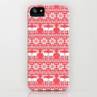 Ugly Christmas Sweater Moose Pattern Infra Red iPhone Case by Rex Lambo | Society6