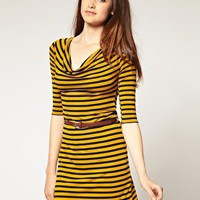 River Island | River Island Cowl Neck Stripe Belted Dress at ASOS