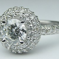 Engagement Ring - Double Halo Pave Vintage Engagement Ring 0.86 tcw in 14K White Gold - ES677