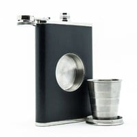 The Original Shot Flask - 8oz Hip Flask with a Built-in Collapsible Shot Glass - Stainless Steel wit