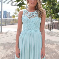 Light Blue Dress with Sheer Lace Top&Tulle Pleated Skirt