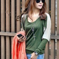 Loose Fashion Splicing Round Neck T-shirts Green : Wholesaleclothing4u.com