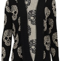 67V New Womens Black Knitted Skull Metallic Ladies Long Sleeved Cardigan Size 6/8