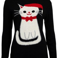 68N New Womens Black Cat Knitted Top Ladies Xmas Holiday Winter Jumper Size 10/12