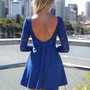Blue Long Sleeve Skater Dress with Scoop Bow Back