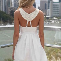 White Dress with Beaded Back Detail & Pleated Skirt