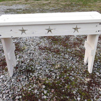 Large White Wooden Bench With Stars