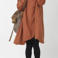 Designbymea - Market Place - Orange cloak wool coat Hooded Cape women Winter wool coat