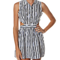 MILK & HONEY COACHELLA CUT OUT DRESS - BLACK WHITE STRIPE