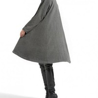Designbymea - Market Place - Gray single breasted wool coat cloak outerwear asymmetry wool Overcoat Swallowtail winter coat