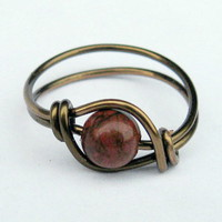 Red Poppy Jasper Ring In Antique Br.. on Luulla