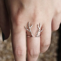 Sterling silver antler ring