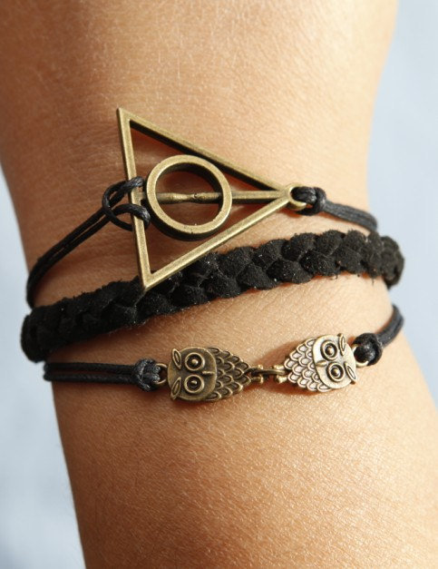 Harry Potter bracelet,owl bracelet,antique bronze bracelet,black wax cord black lmitation leather bracelet - best gift