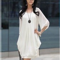 Korean Womens Casual Mini Dress Graceful Chiffon Splicing Satin Solids Whties