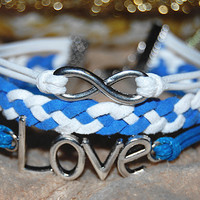 infinity bracelet love bracelet with white blue strings