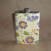 Flask Purple Pansies on Faded Love Letters  Print by kryan2designs