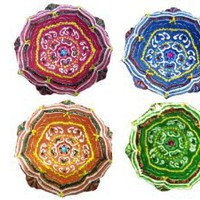 Amazon.com: Diwali Decoration & Gifts a Set of 4 Decorative Earthen Lamp Diyas Handmade & Decorated with Colored Stones a Unique Candle Holder or Lantern: Home & Kitchen