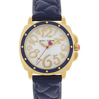 Betsey Johnson Watch, Women's Navy Blue Quilted Patent Leather Strap 38mm BJ00044-15 - Women's Watches - Jewelry & Watches - Macy's