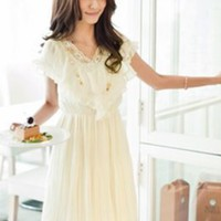 Princess Style V Colllar Pleats Dresses Apricot : Wholesaleclothing4u.com