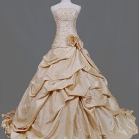 Gold Wedding Dress 9 by weddingdressfantasy on Etsy