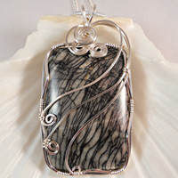 Black Veins Web Jasper Pendant, Wire Wrapped, Handmade Jewelry