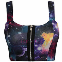 NEW WOMENS LADIES BEAUTIFULL SEXY GALAXY PRINT ZIP FRONT BRA CROP BRALET TOP