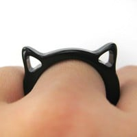 SALE Acrylic Cat Animal Ring in Black - Size 6