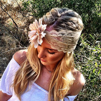 Ivory Bisque Lace Headband with Flower - Southern Belle Glitzy Stretchy Wide Lace Headband with Fabric Flower and Pearl Buttons