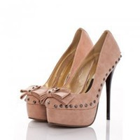 Autumn New Arrival Rivets Embellished High Pumps Pink : Wholesaleclothing4u.com