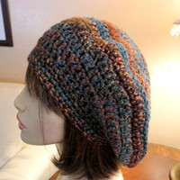 Slouchy Hat Brown Teal Rust Warm Winter Crocheted Handmade Soft