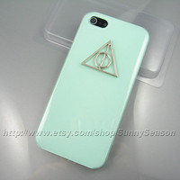IPhone 5 Case,Silver Harry Potter Deathly Hallows Jelly Mint Green iphone 5 Hard Case