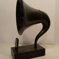 Acoustic  iPhone Speaker Dock Utilizing a Vintage Molded Plastic Gramophone Horn -Ready to ship in a week-