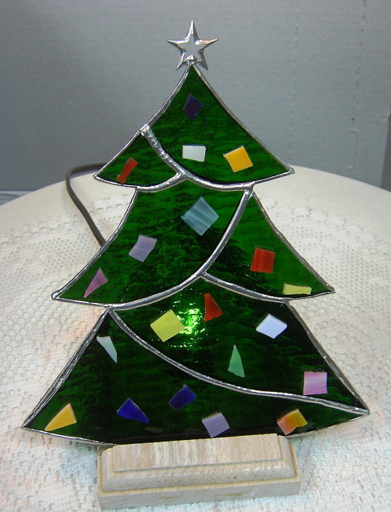 Lighted stained glass christmas tree by from shopworksofglass