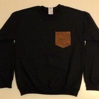 Unisex Custom Patch Pocket Crew Neck Sweatshirt- Small Cheetah Print
