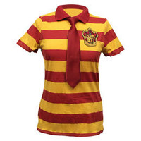 Harry Potter Gryffindor Women&#x27;s Fitted Striped Polo &amp; Tie: WBshop.com - The Official Online Store of Warner Bros. Studios