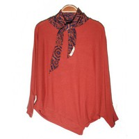 Round Neck Orange Batwing Irregular Loose Pullover  Other type  Solid Pop  style S102004 in Knitwear