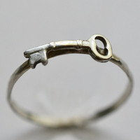 Silver Key Ring, Handforged Sterling Silver Ring, Hammered Silver