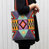 Leather Tote - Tribal Geometric No.2