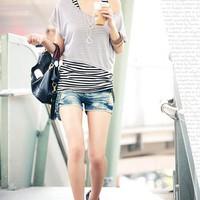 Two Piece Casual Stripe T-shirt: tidestore.com