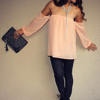 Off Shoulder Peasant II Top (Peach)