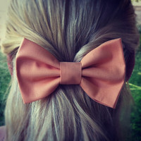 Peach Pink BIG hair bow