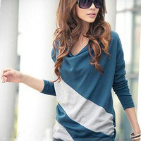 Glamorous Korean Style Split Joint Bat Sleeve T-Shirt: tidestore.com